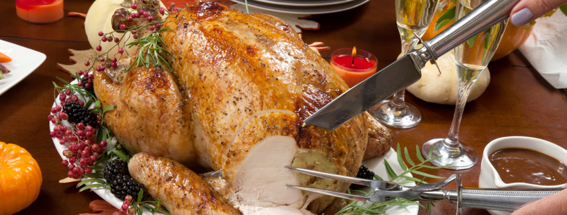 Carving roasted Turkey